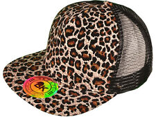 CHEETAH PRINT MESH TRUCKER SNAPBACK HAT CAP FLAT BILL ADJUSTABLE LEOPARD ANIMAL