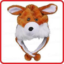 FOX DOG WOLF ANIMAL CARTOON PLUSH FLUFFY HOODED HAT CAP BEANIE EARMUFF-COSTUME