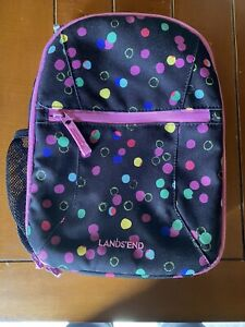 Lands End Black Purple Lunch Box