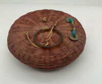 Beads Bangles Coins and Tassels, Antique Chinese Sewing Basket Brown
