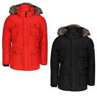 Mens Boys Heavy Weight Fur Trim Hood Parka Parker Jacket Padded Warm Winter Coat