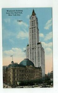 NY New York City antique Underhill post card Woolworth Bldg from City Hall Park