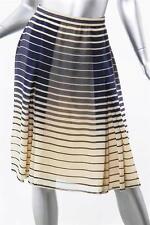 BILL BLASS Beige Navy Chiffon Striped High-Waist Pleated Knee-Length Skirt 8 NEW