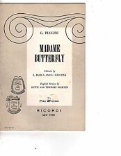 Opera Libretto Madame Butterfly Puccini 1954 Illica, Giacosa Martin English jc
