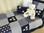 3pc Lachlan Navy Baby Boys Nursery Cot Quilt 2 Matching Cushions Coastal Boy