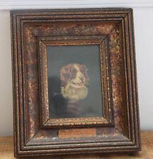 "Antique St. Bernard Oil Painting Vilna 1899 Dog Art Animal  Wood Frame 11""x13"""