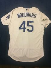 14596289d 2017 Los Angeles Dodgers Chris Woodward Home White Team Issued Jersey  45
