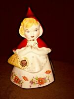 Vintage Hull  Little Red Riding Hood Poppies Open Basket Cookie Jar 967