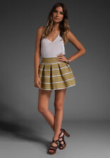 Pleasure Doing Business 5 Band Pleated Skirt in Yellow/brown/white - Size S