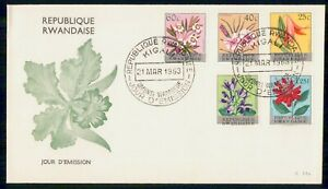 Mayfairstamps Rwanda FDC 1963 Flower Combo Kigali First Day Cover wwi_90365
