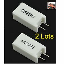 2 lotes 22 Ohm 5W Resistor wirewould Cerámica Radial Marca 5mm Pitch 22R J UK