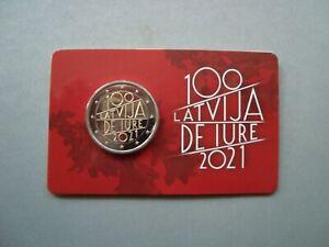 """Latvia Lettland 2 euro 2021 """"100 Latvia de Iure"""" coincard (coin card) BU"""