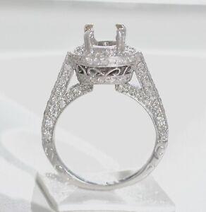 Channel Set Diamond Engagement Ring Setting Semi Mount Mounting 14K White Gold 13CT Size 4-9