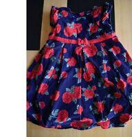 baby girls rose party cord dress JoJo Maman Bébé 12-18 months navy layered