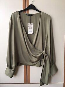 ZARA Khaki Satin Blouse With Knot Size XL 14