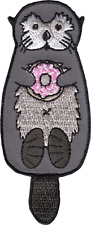 16238 Sea Otter Holding Pink Donut Animal Ocean Cute Embroidered Iron On Patch