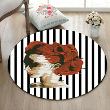 Red Hair Woman Round Area Rug Black and White Striped Carpet Floor Door Mat Rug