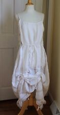 Krista Larson Soft White Woven Silk and Sheer Adjustable Length Parachute Dress