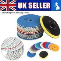 12PCS Diamond Polishing Pads Wet Dry 4 Inch Set Kit For Granite Concrete Marble