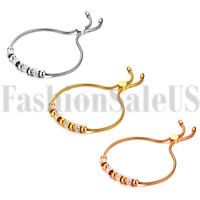 Stainless Steel Women's Charm Beaded Chain Bracelet Bangle Freely Adjustable USA
