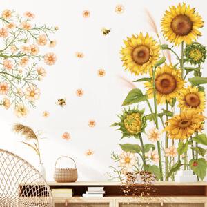 Yellow Sunflower Bee Flower PVC Vinyl Removable Nursery Mural Decal Wall Sticker