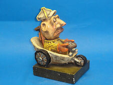 WHIMSICAL VINTAGE 1971 SIGNED CHALKWARE FIGURINE GOLFER DRIVING GOLF CART