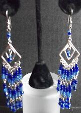 Deep Blue Royal Cobalt Dangle Chandelier Earrings Unique Handmade Long Drop