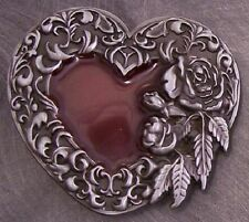 Pewter Belt Buckle novelty Embellished Heart NEW