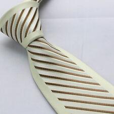 Coachella Men's Ties Beige Border Silver/Brown Stripes Necktie Normal Formal Tie