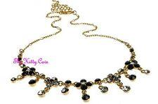 Vintage Deco Chic Hollywood Glamour Black Gold Pl Necklace W/ Swarovski Crystals