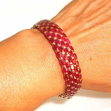 Wide 14k gold & 45 Ct Natural Blood Red Ruby Lady's Bangle Bracelet stunning