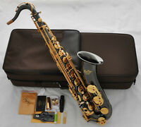 Professional Black Nickel Gold TaiShan Tenor Saxophone Bb Sax High F# With Case