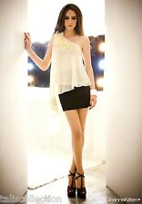 Joanne Kitten One Shoulder Semi Sheer Cocktail Cream White Blouse Top JK-1190