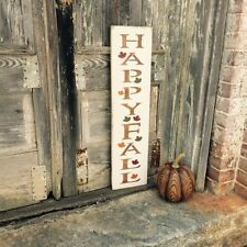 "Large Rustic Wood Sign - ""Happy Fall"" Fall Decor, Autumn Leaves, Harvest"