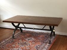 Farmhouse Dining Table Industrial Cast Metal and Brass