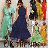 UK Women Wrap Summer Boho Floral Paisley Maxi Print Dress Ladies Holiday Beach