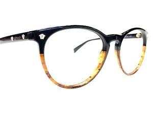 Versace MOD3257 5117 Unisex Black Brown Round Modern Rx Eyeglasses Frames 53/18