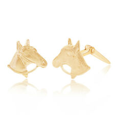 9ct yellow gold horse head Andralok stud earrings /  Gift box