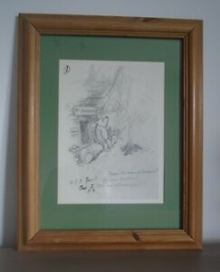 """Framed Winnie The Pooh E.H Shepard Sketch Print  """"Under the name of Saunders"""""""