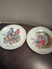 2 Norman Rockwell Decorative Plates Carefree Autumn Summer Fun Collectible