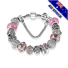 925 Silver Plated Bohemian Butterfly Crystal Beads Bracelet Ladies Bangle Gift