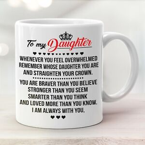 To My Daughter Coffee Mug Love Mom Dad Daughter Gift Cup Braver Stronger Smarter