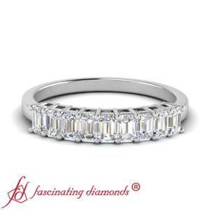 1 Ctw Emerald Cut Diamond 9 Stone White Gold Wedding Anniversary Band For Women