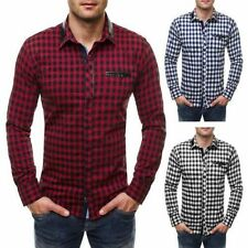 Cotton Check Fitted Long Sleeve Casual Shirts & Tops for Men