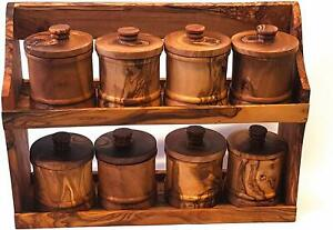 Beautiful Tunisian Olive Wood Spice Rack With 8 Jars. Sustainably Sourced L34x25