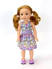 "Easter Egg Dress Fits 14.5"" Wellie Wisher American Girl Doll Clothes"