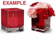 NEW Red Glass Cube Vase 4x4 Set of 2, Center piece Christmas, new years