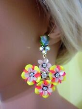 J CREW FUN FLORAL AND CRYSTAL DROP EARRING NWT #F2855 IN LEMON