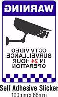 Warning CCTV Security Surveillance Camera Decal Sticker Sign 66x100mm INTERNAL