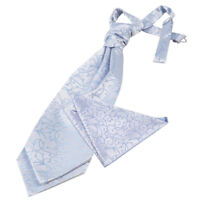 DQT Woven Swirl Baby Blue Wedding Pre-Tied Mens Cravat & Hanky Set FREE Pin
